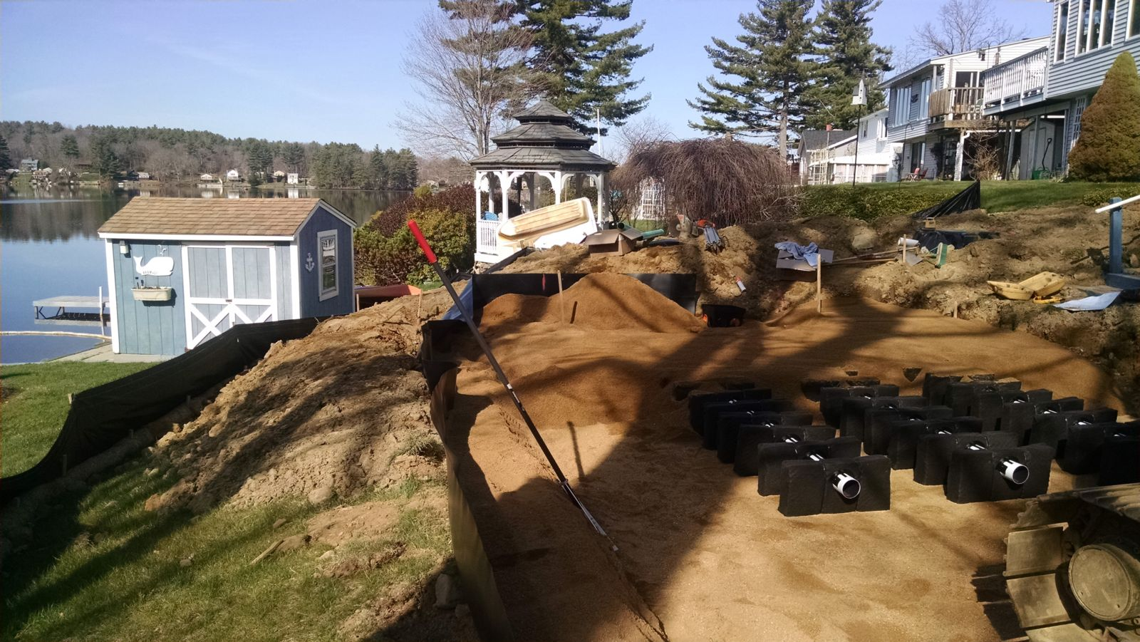 Septic system install on lake